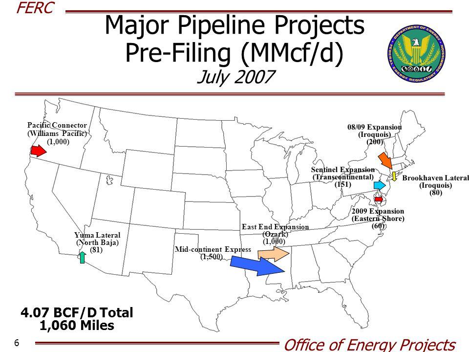 Major Pipeline Projects Pre-Filing (MMcf/d) July 2007