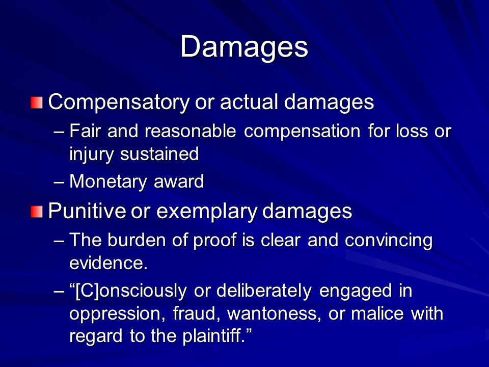 Damages Compensatory or actual damages Punitive or exemplary damages