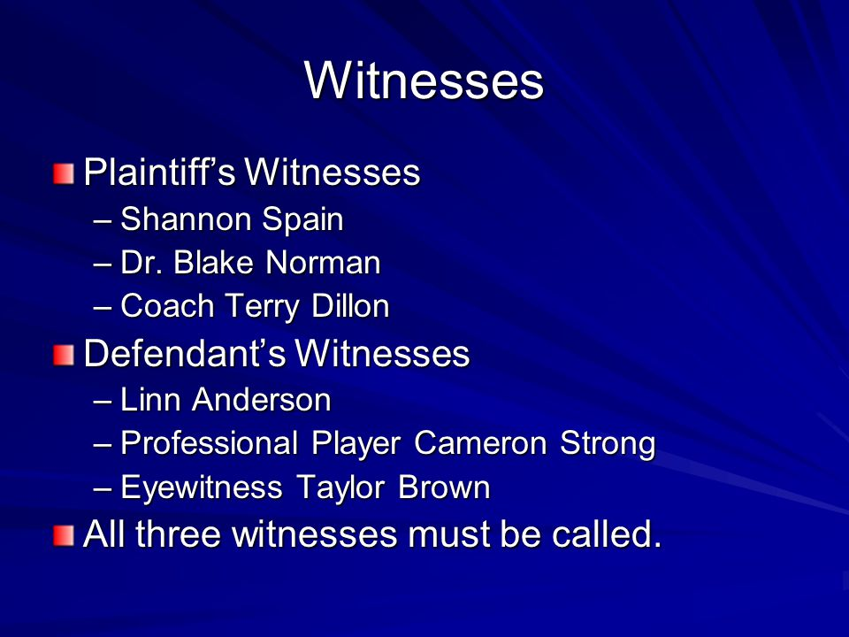 Witnesses Plaintiff's Witnesses Defendant's Witnesses