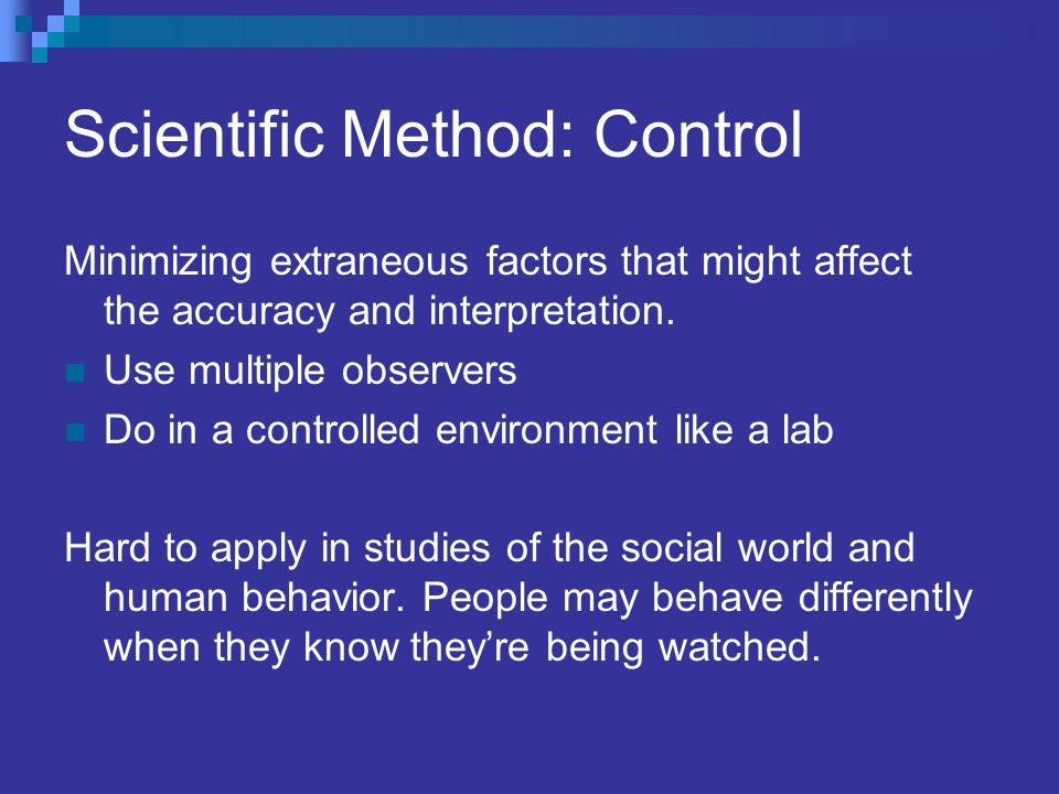 Scientific Method: Control