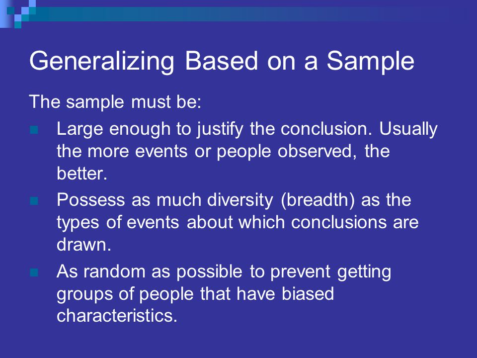 Generalizing Based on a Sample