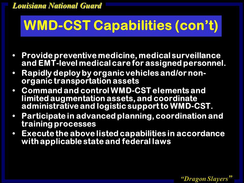 WMD-CST Capabilities (con't)