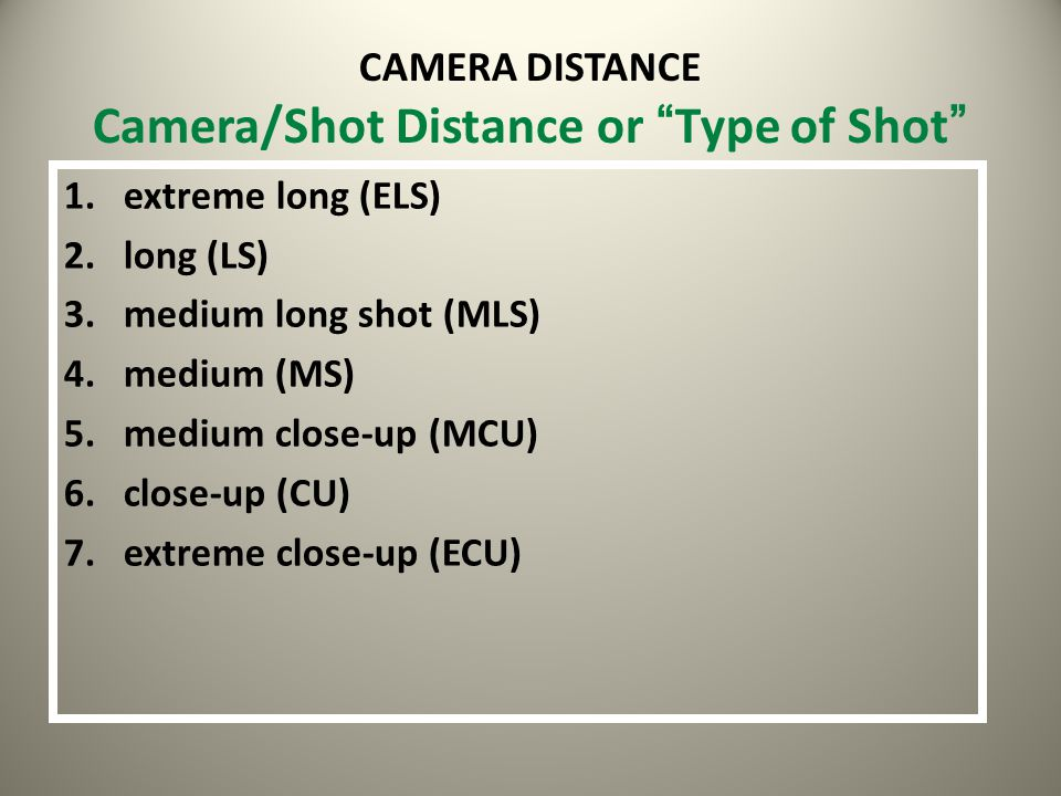 CAMERA DISTANCE Camera/Shot Distance or Type of Shot