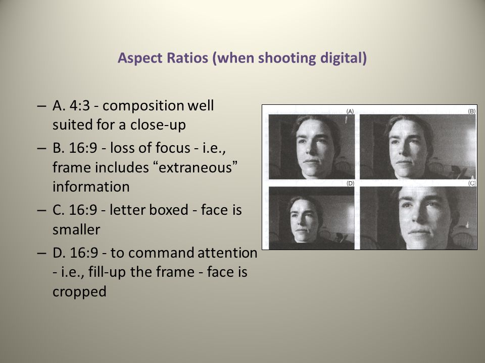 Aspect Ratios (when shooting digital)