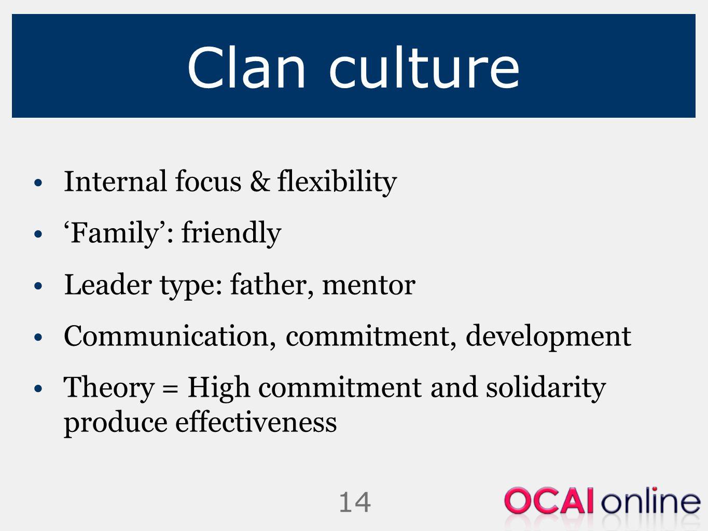Clan culture Internal focus & flexibility 'Family': friendly
