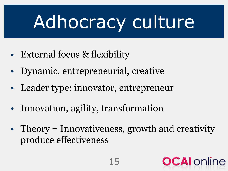 Adhocracy culture External focus & flexibility