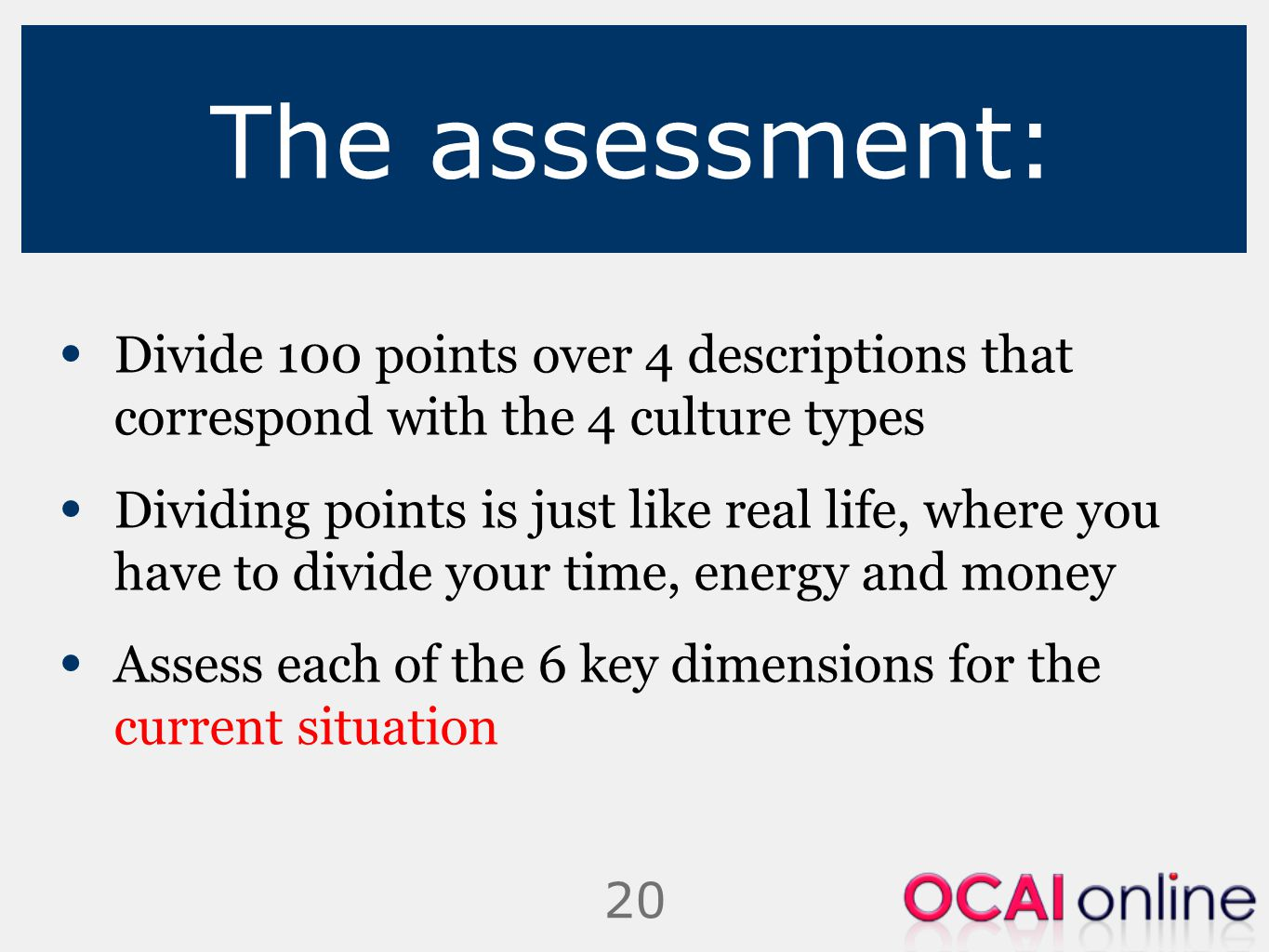 The assessment: Divide 100 points over 4 descriptions that correspond with the 4 culture types.