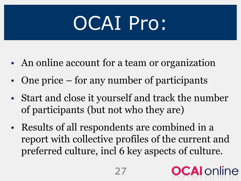 OCAI Pro: An online account for a team or organization