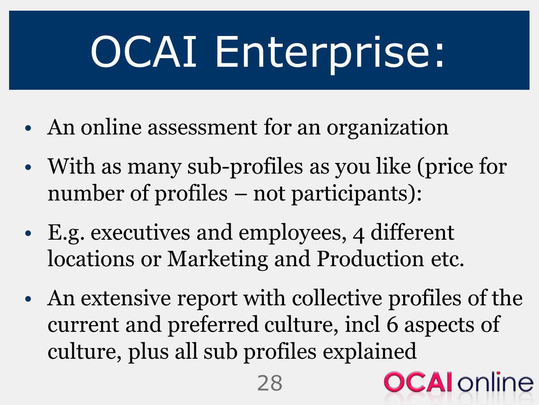 OCAI Enterprise: An online assessment for an organization