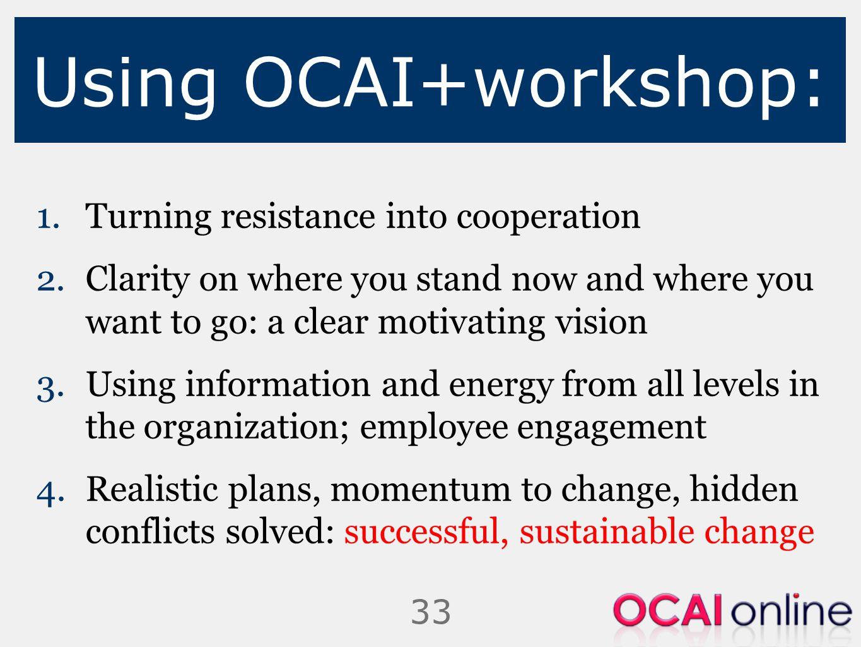 Using OCAI+workshop: Turning resistance into cooperation