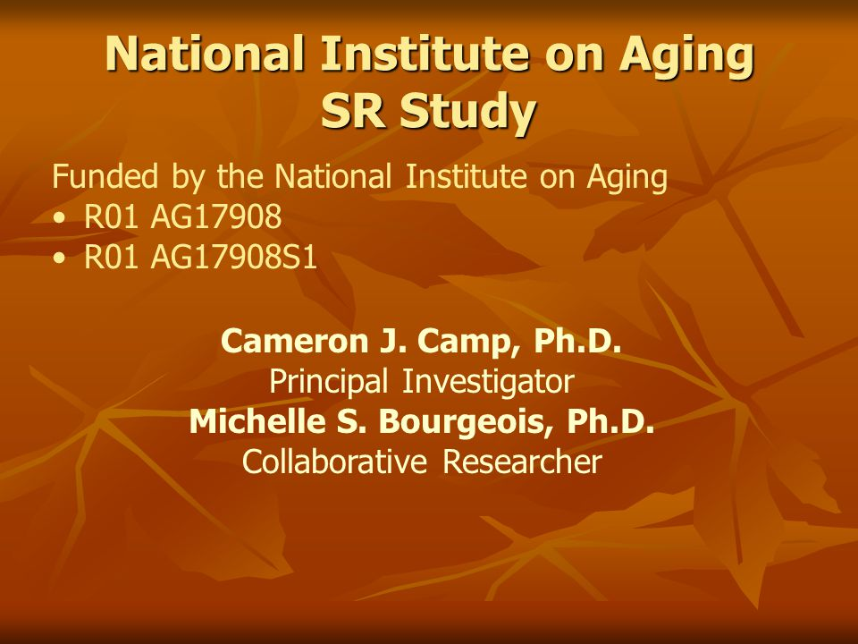 National Institute on Aging SR Study