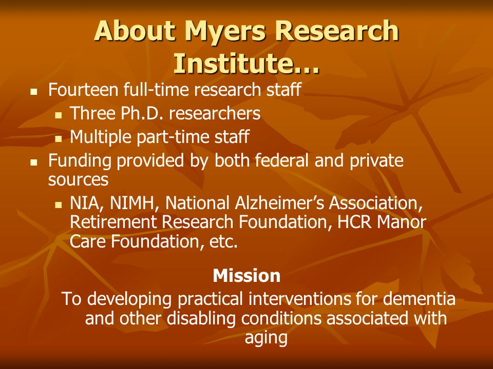 About Myers Research Institute…