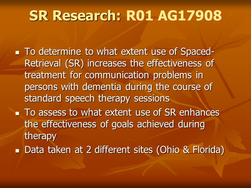 SR Research: R01 AG17908