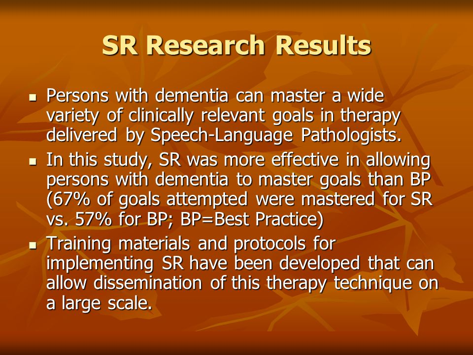 SR Research Results