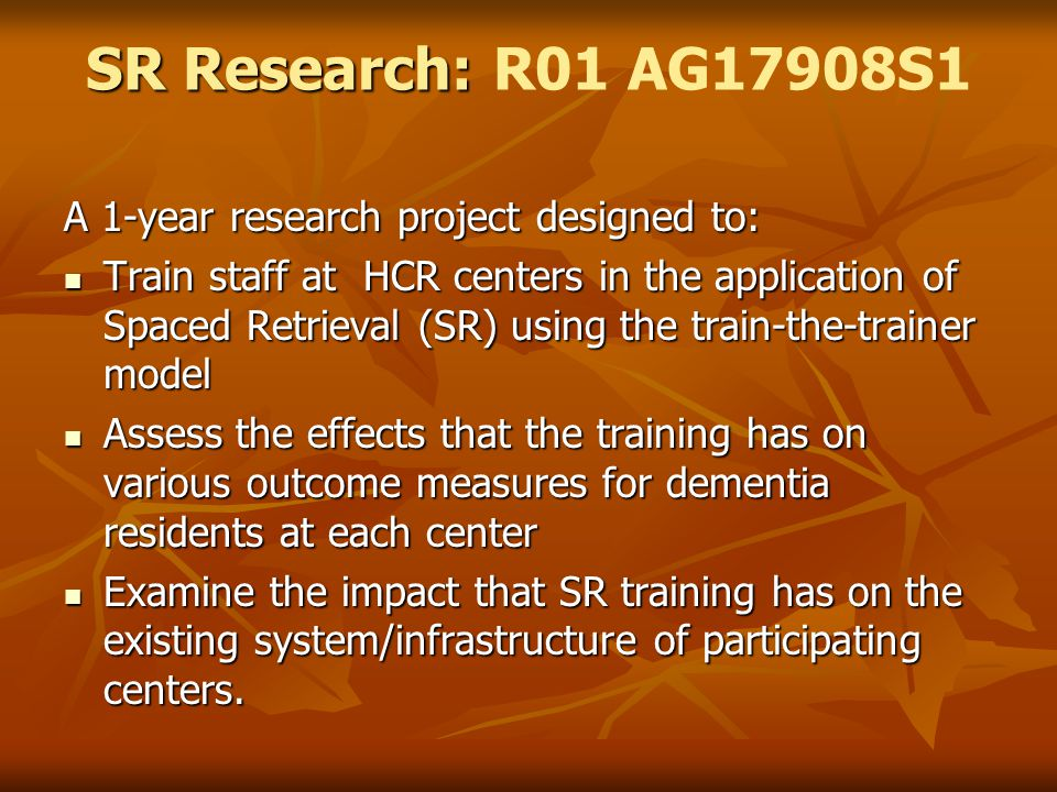 SR Research: R01 AG17908S1 A 1-year research project designed to: