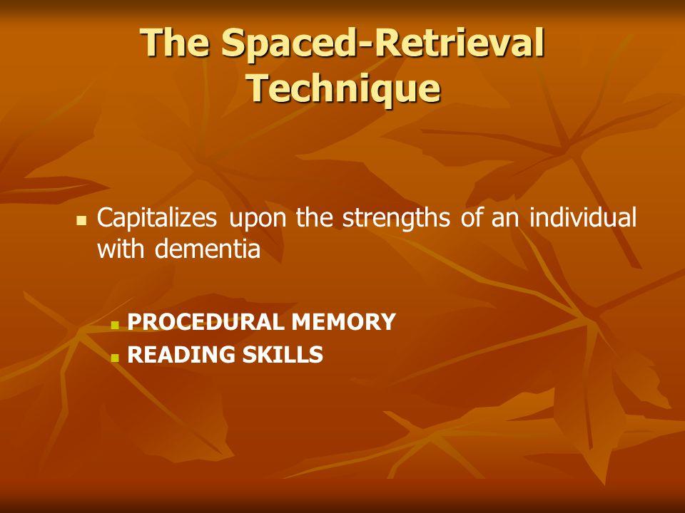 The Spaced-Retrieval Technique