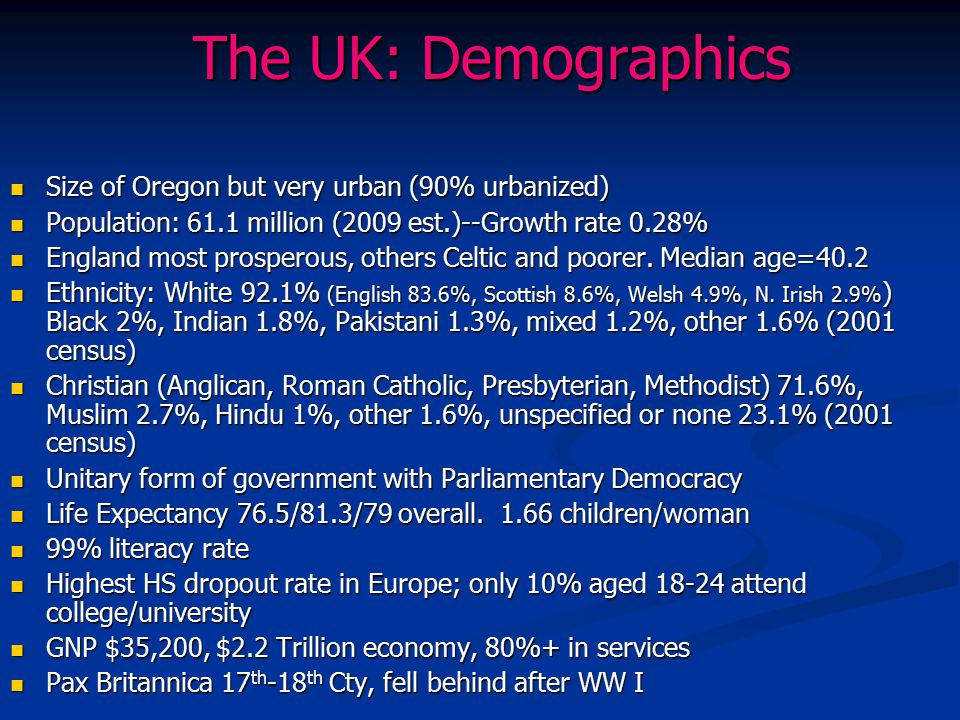 The UK: Demographics Size of Oregon but very urban (90% urbanized)