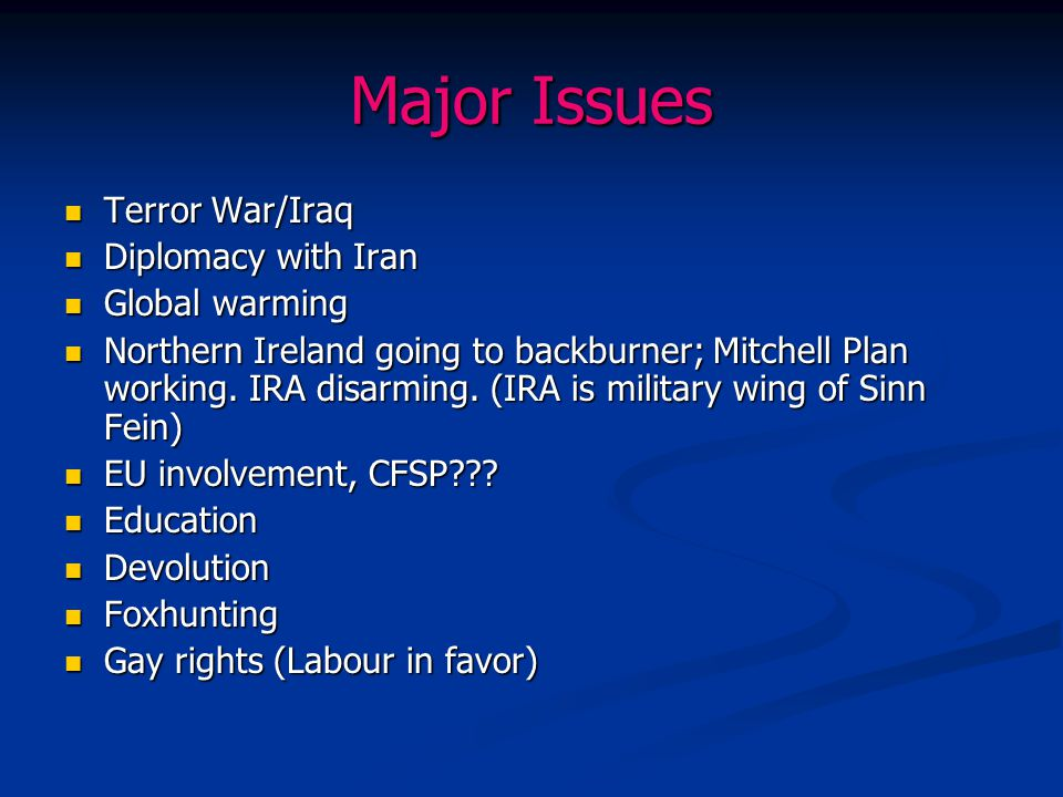 Major Issues Terror War/Iraq Diplomacy with Iran Global warming