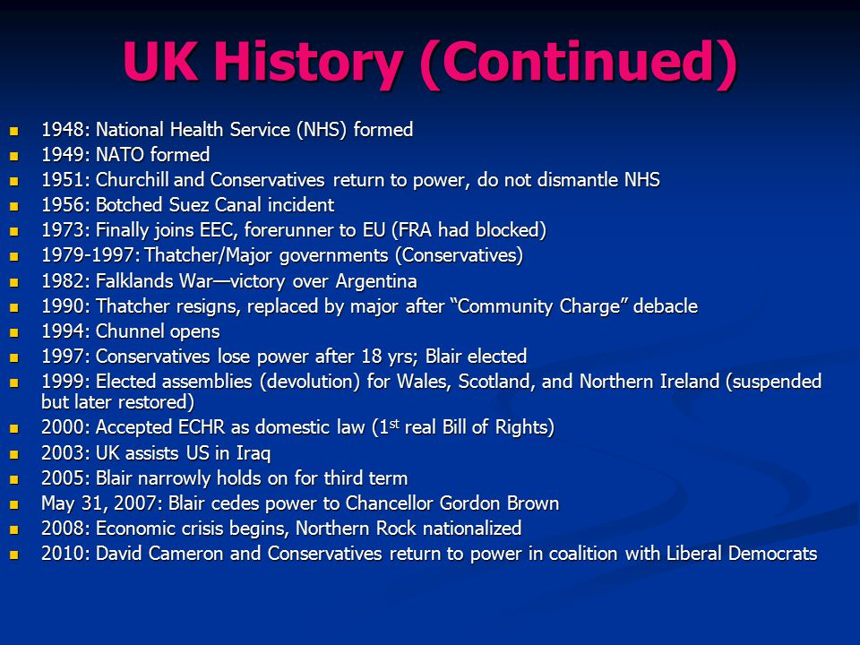 UK History (Continued)