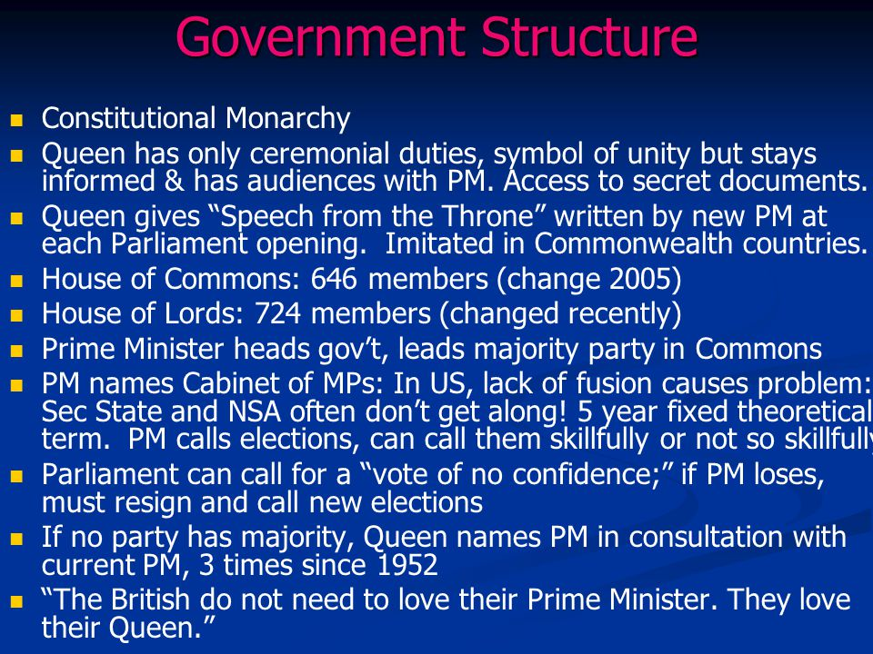 Government Structure Constitutional Monarchy