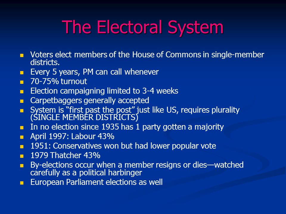 The Electoral System Voters elect members of the House of Commons in single-member districts. Every 5 years, PM can call whenever.