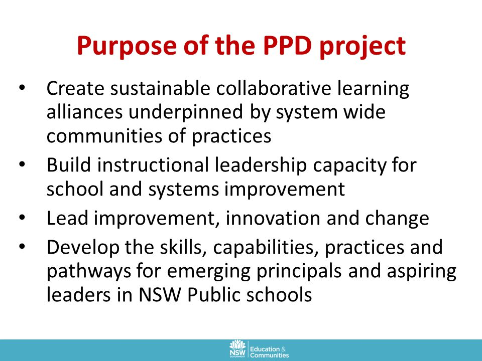 Purpose of the PPD project