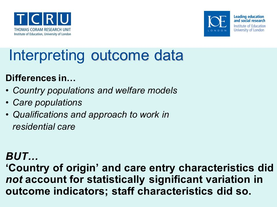 Interpreting outcome data