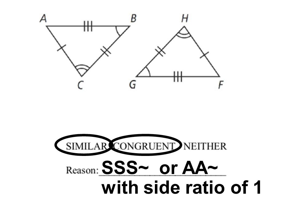 SSS~ or AA~ with side ratio of 1