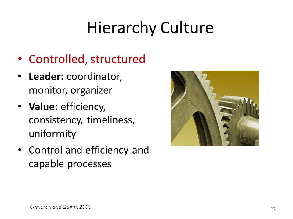 Hierarchy Culture Controlled, structured