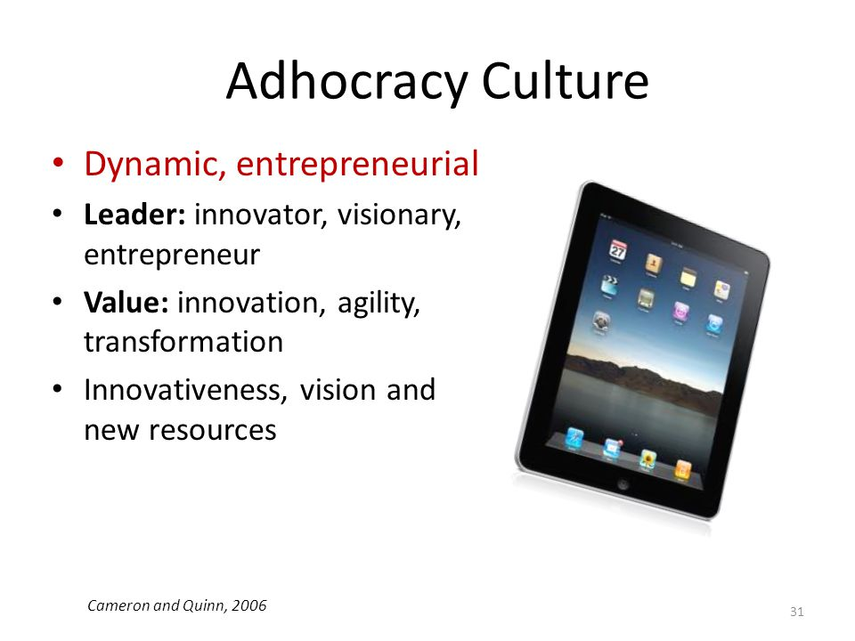 Adhocracy Culture Dynamic, entrepreneurial