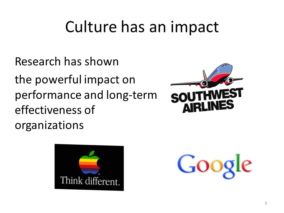 Culture has an impact Research has shown the powerful impact on performance and long-term effectiveness of organizations