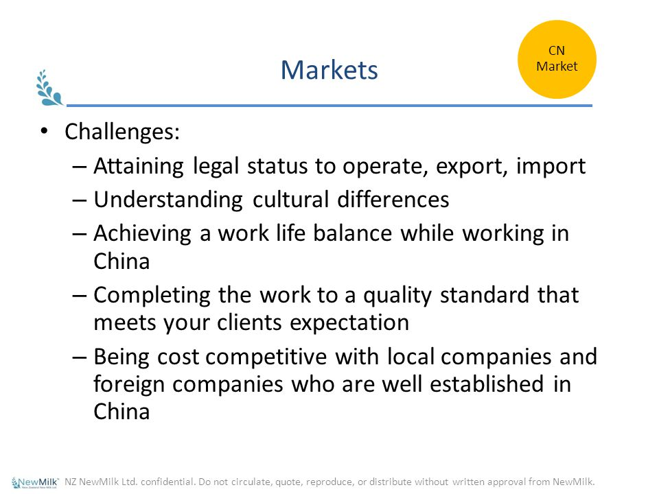 Markets Challenges: Attaining legal status to operate, export, import