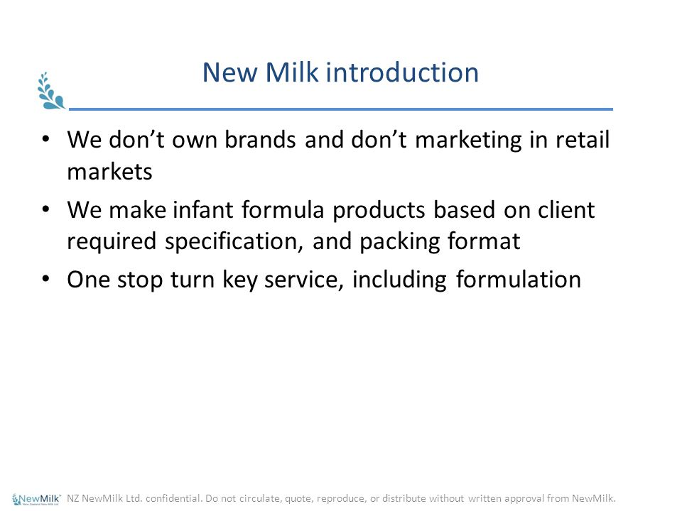 Try New Milk introduction. We don't own brands and don't marketing in retail markets.