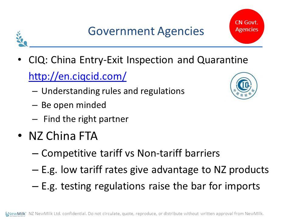Government Agencies NZ China FTA