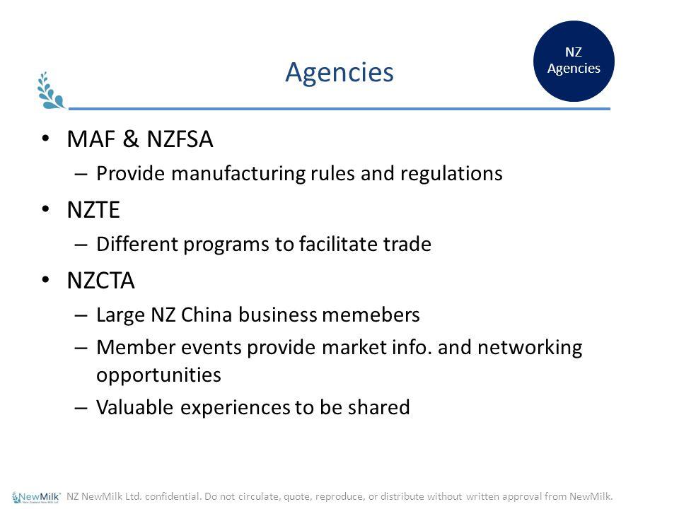 Agencies MAF & NZFSA NZTE NZCTA