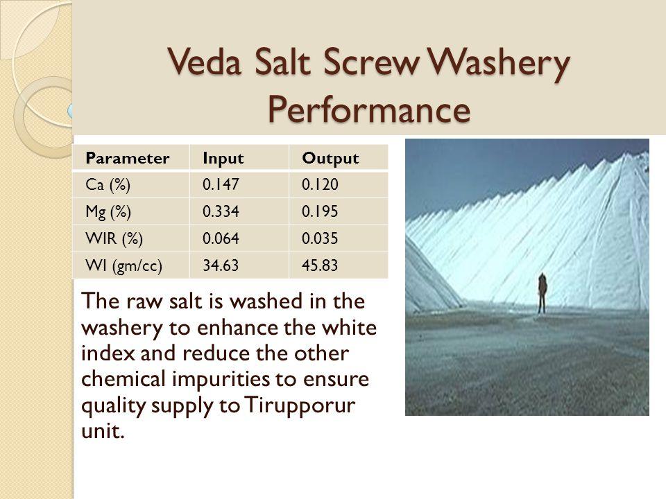 Veda Salt Screw Washery Performance