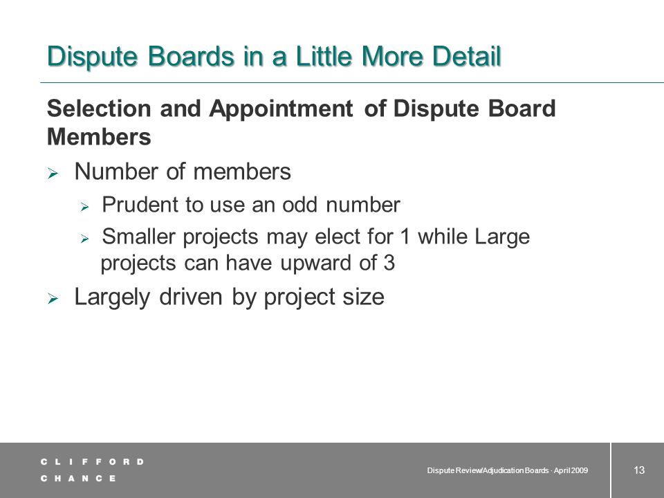 Dispute Boards in a Little More Detail