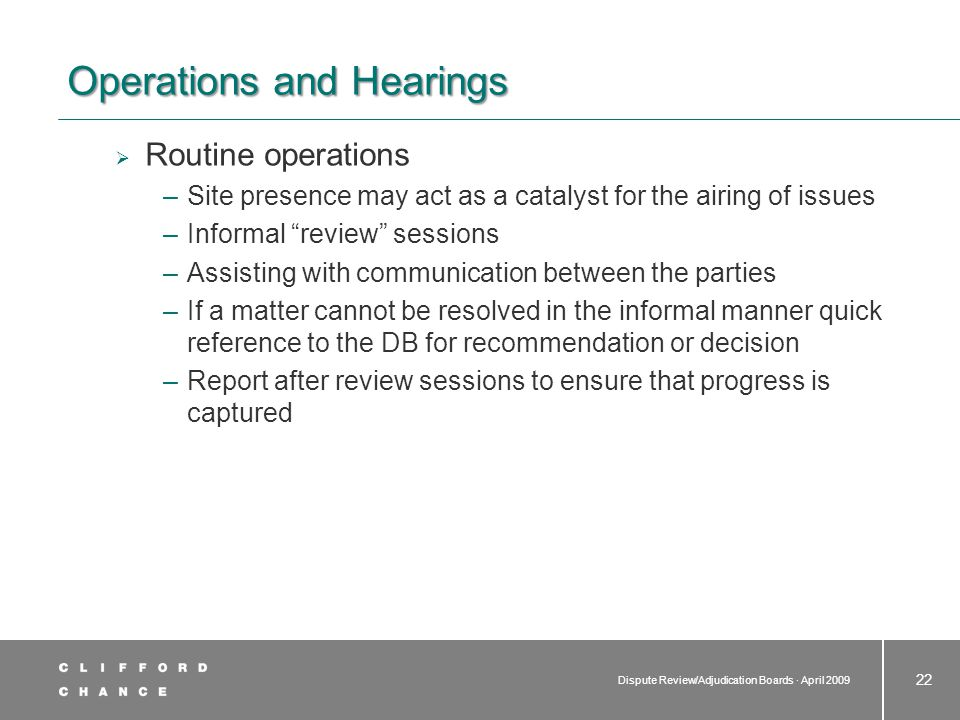 Operations and Hearings