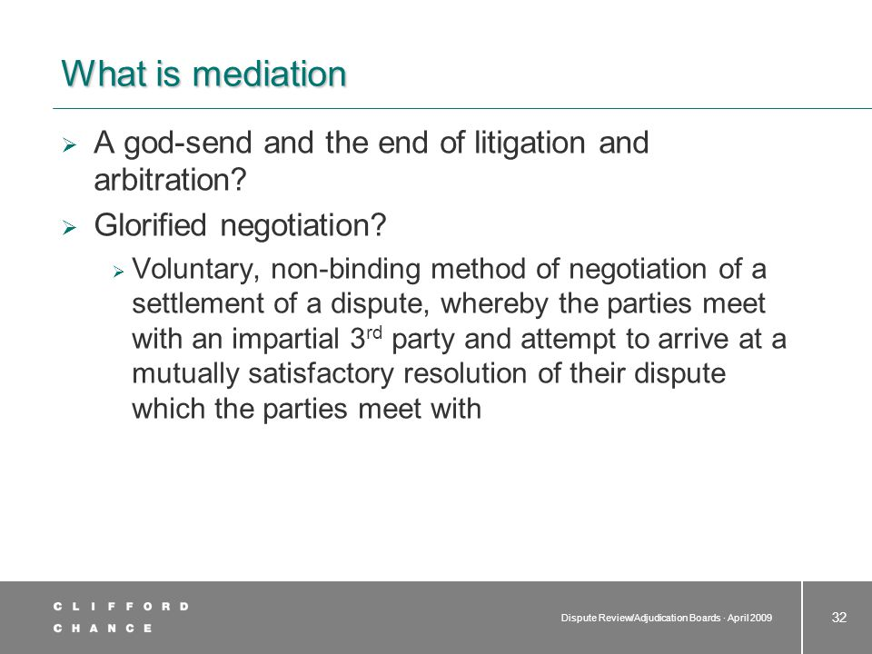 Features of mediation Typical mediation Short statements