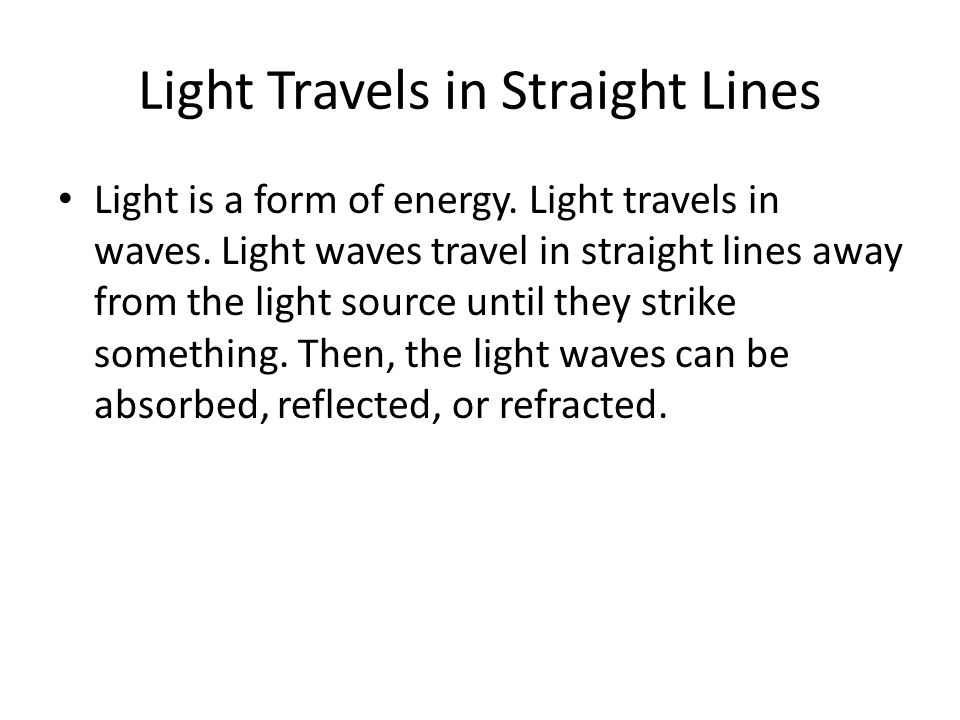 Light Travels in Straight Lines