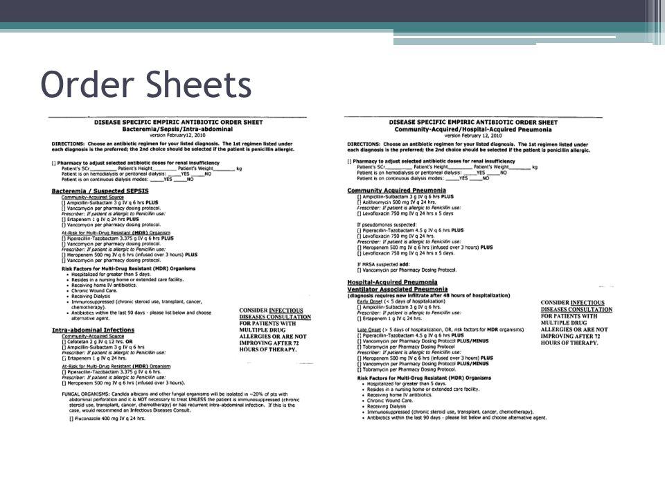 Order Sheets