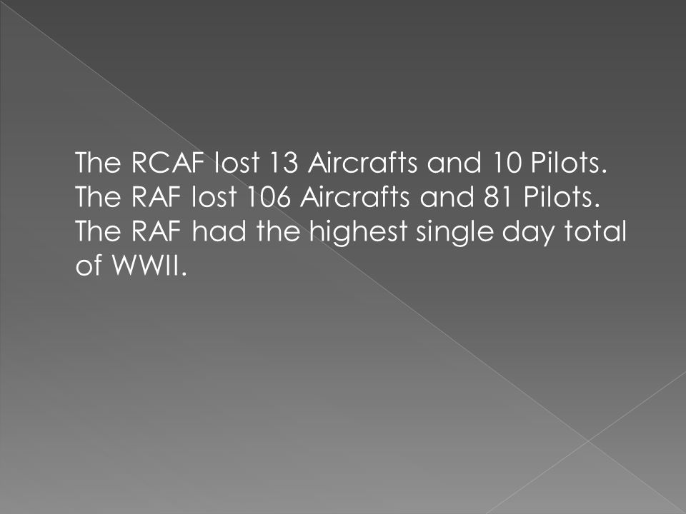 The RCAF lost 13 Aircrafts and 10 Pilots