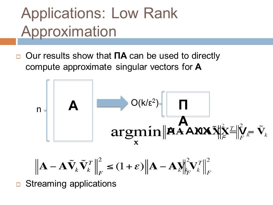 Applications: Low Rank Approximation