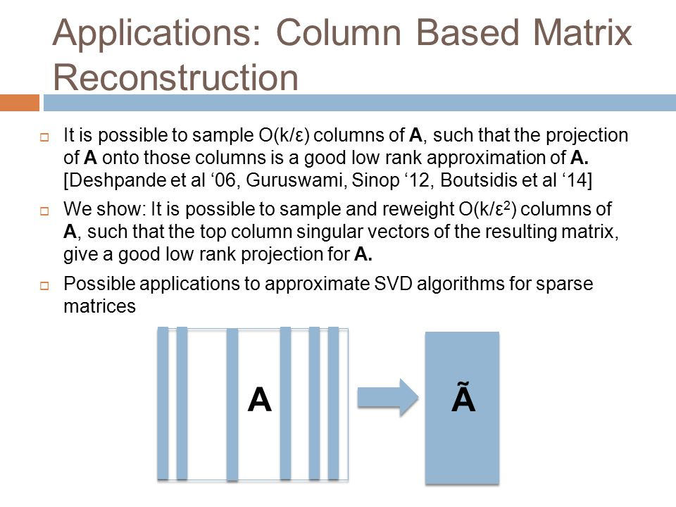 Applications: Column Based Matrix Reconstruction