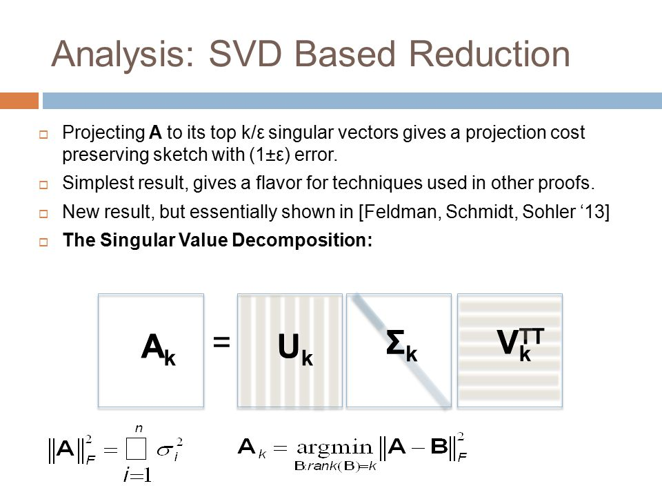 Analysis: SVD Based Reduction