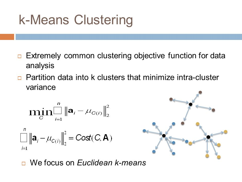 k-Means Clustering Extremely common clustering objective function for data analysis.