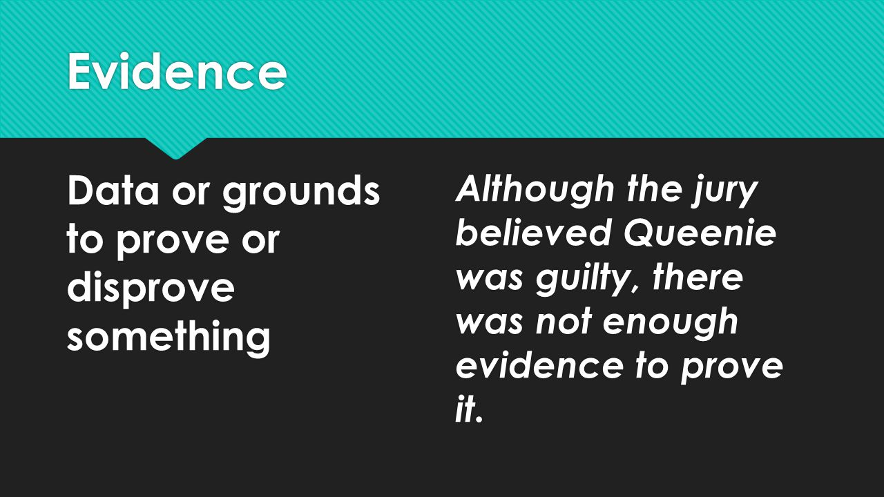 Evidence Data or grounds to prove or disprove something