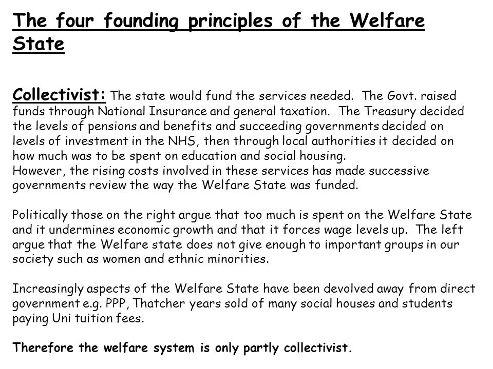 The four founding principles of the Welfare State