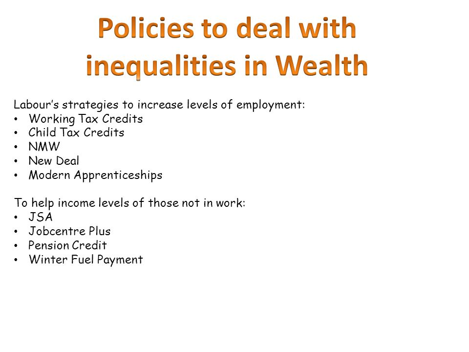 inequalities in Wealth