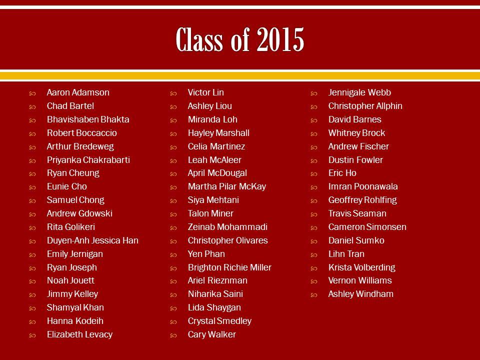 Class of 2015 Aaron Adamson Victor Lin Jennigale Webb Chad Bartel